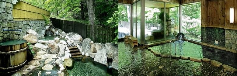 「梓の湯」の露天風呂と内風呂