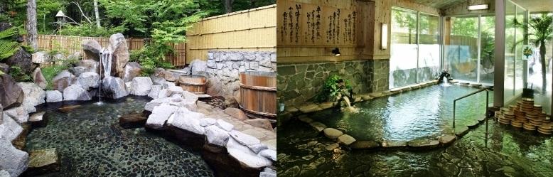 「焼けの湯」の露天風呂と内風呂