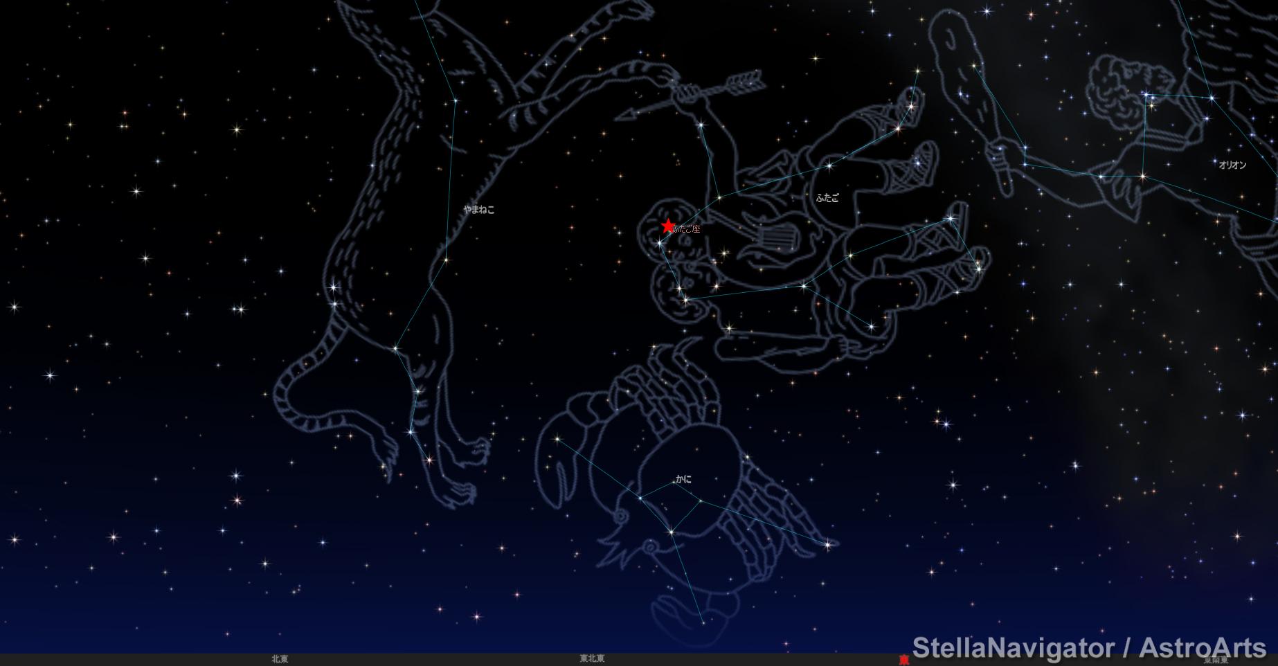 ふたご座流星群 12月13日20時30分(札幌)