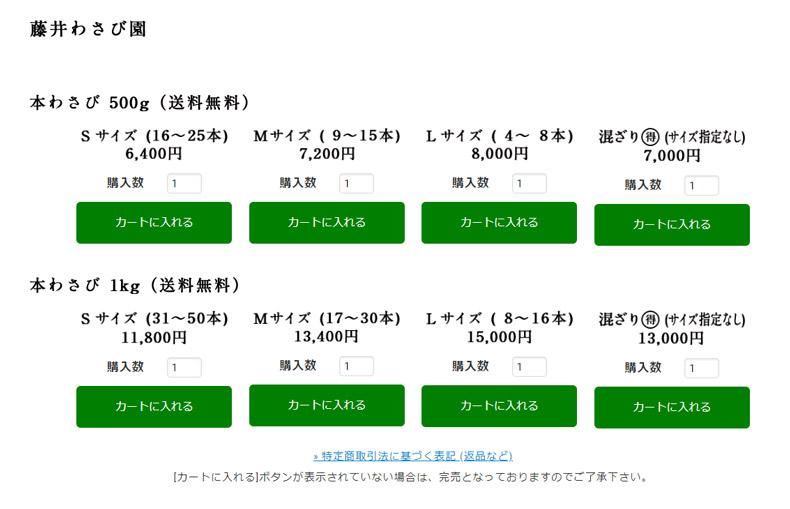 「藤井わさび園」のショッピングページ