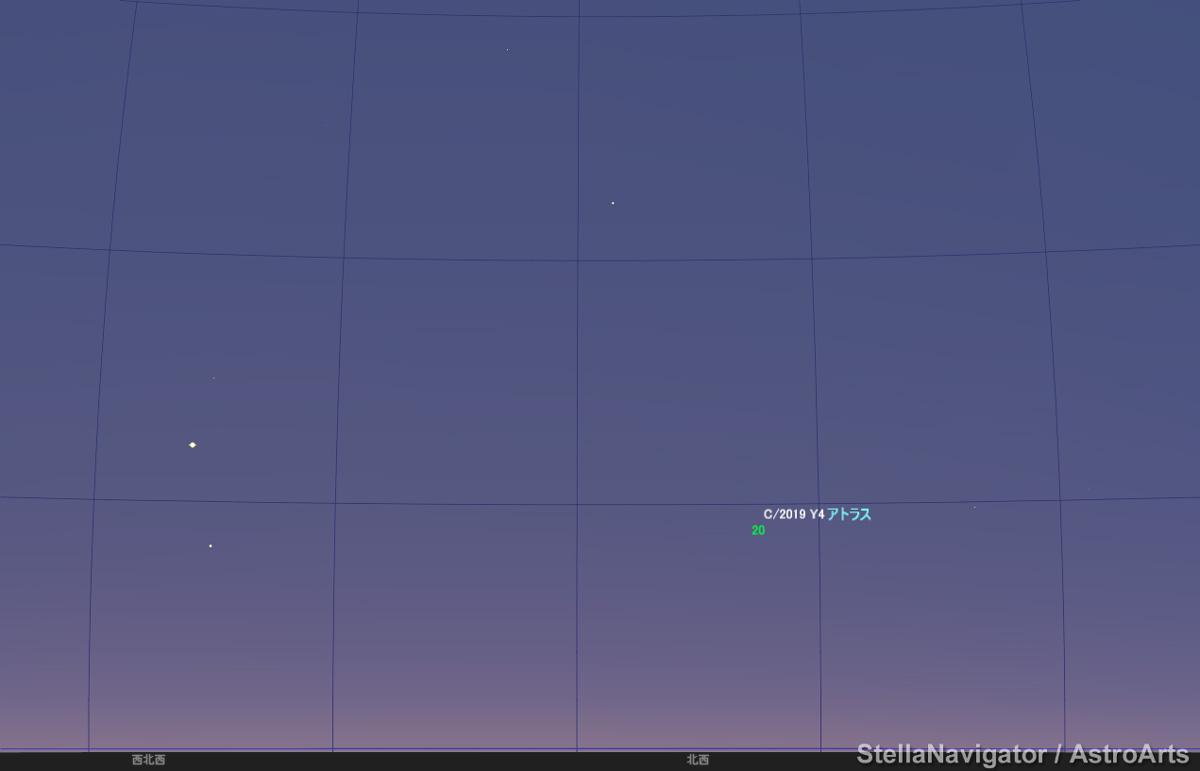 5月20日、日没40分後のアトラス彗星